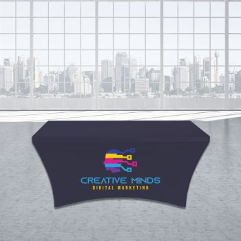 8FT Stretch Spandex Trade Show Table Cover - Full Color Imprint