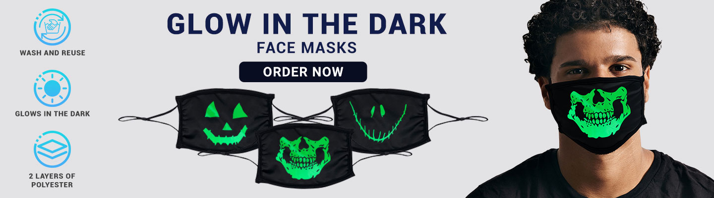 Custom Glow In The Dark Face Masks