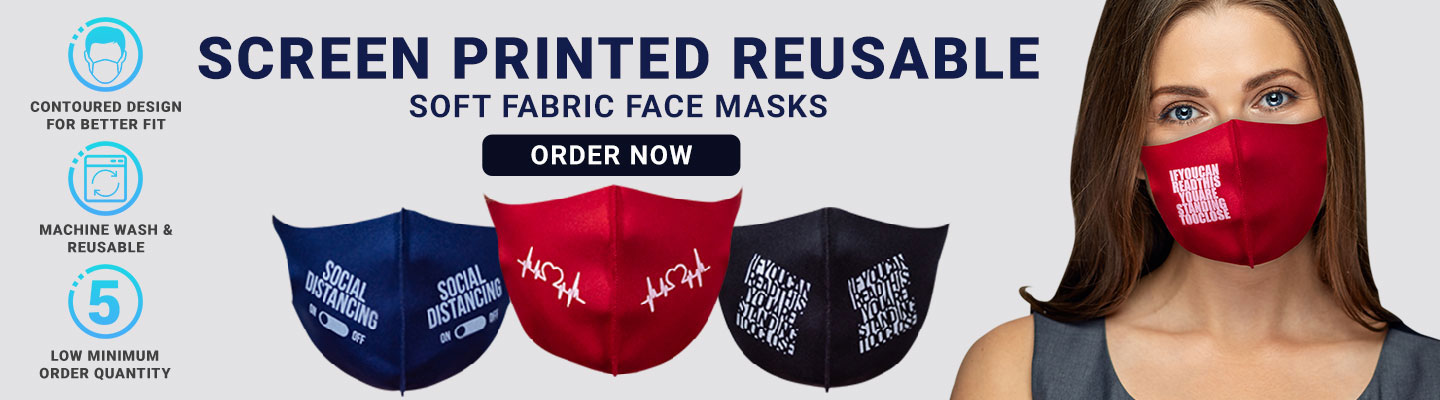 Custom Screen Printed Soft Fabric Reusable Face Masks